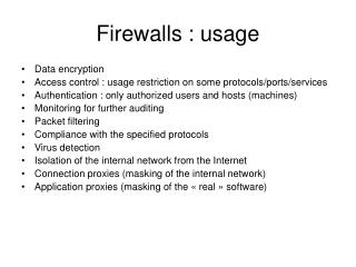 Firewalls : usage