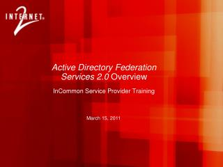 Active Directory Federation Services 2.0  Overview