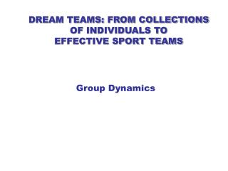 DREAM TEAMS: FROM COLLECTIONS OF INDIVIDUALS TO  EFFECTIVE SPORT TEAMS