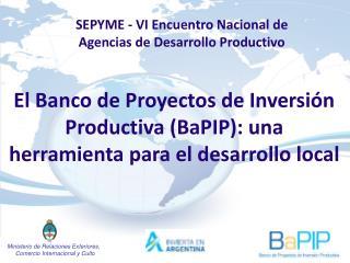 El Banco de Proyectos de Inversión Productiva (BaPIP): una herramienta para el desarrollo local