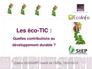 Les éco-TIC :  Quelles contributions au développement durable ?