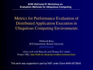 Prithwish Basu ECE Department, Boston University pbasu@bu