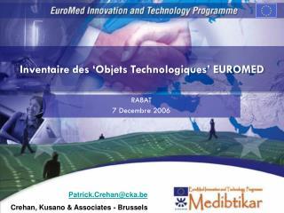 Inventaire des 'Objets Technologiques' EUROMED