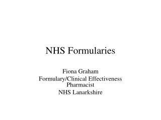 NHS Formularies