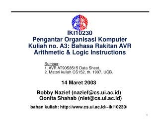 14  Maret 2003 Bobby Nazief (nazief@cs.ui.ac.id) Qonita Shahab (niet@cs.ui.ac.id)