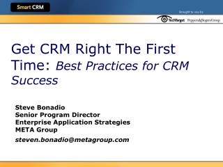 Get CRM Right The First Time: Best Practices for CRM Success
