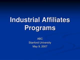 Industrial Affiliates Programs