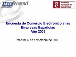 Encuesta de Comercio Electrónico a las Empresas Españolas Año 2002