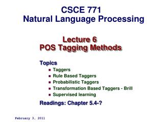 Lecture 6   POS Tagging Methods