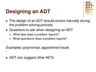Designing an ADT