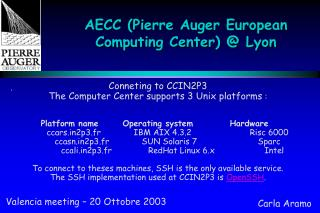 AECC (Pierre Auger European Computing Center) @ Lyon