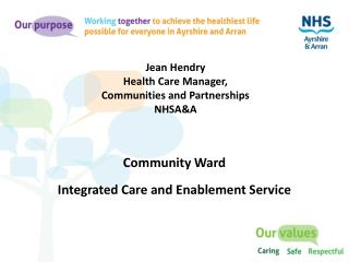 Jean Hendry Health Care Manager,  Communities and Partnerships NHSA&A