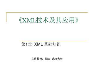 《XML 技术及其应用 》