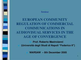 """Prof. Roberto Mastroianni (Università degli Studi di Napoli """"Federico II"""")"""