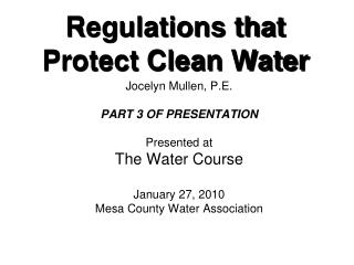 Regulations that Protect Clean Water