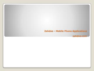 Zahdoo – Mobile Phone Applications