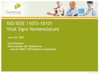 ISO/IEEE 11073-10101 Vital Signs Nomenclature