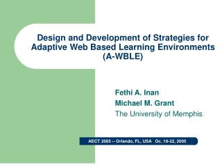 Design and Development of Strategies for Adaptive Web Based Learning Environments (A-WBLE)