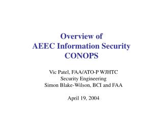 Overview of  AEEC Information Security CONOPS