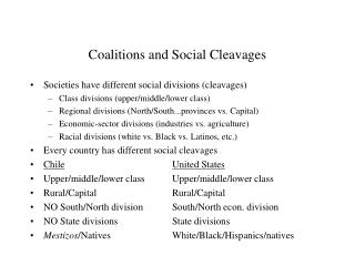 Coalitions and Social Cleavages