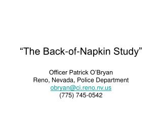 The Back-of-Napkin Study