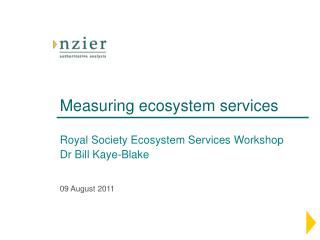 Measuring ecosystem services