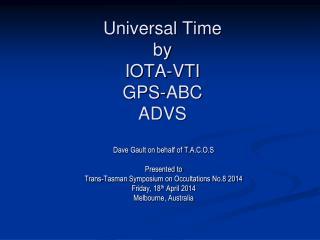 Universal Time by IOTA-VTI GPS-ABC ADVS
