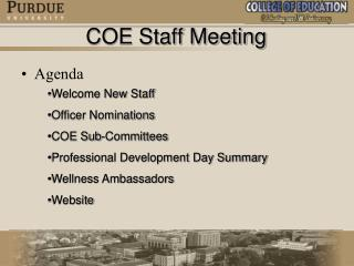 COE Staff Meeting