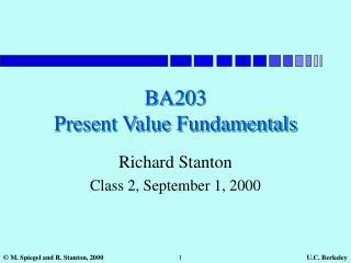 BA203 Present Value Fundamentals