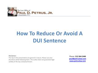 How To Reduce Or Avoid A DUI Sentence