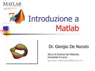 Introduzione a  Matlab