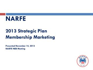 NARFE 2013 Strategic Plan Membership Marketing Presented November 14, 2012 NARFE NEB Meeting