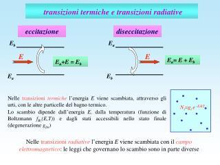 transizioni termiche e transizioni radiative