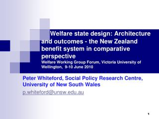 Peter Whiteford, Social Policy Research Centre, University of New South Wales
