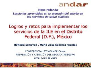 Raffaela Schiavon  y  Mar�a  Luisa S�nchez Fuentes CONFERENCIA LATINOAMERICANA: