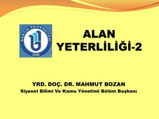 ALAN YETERLİLİĞİ-2