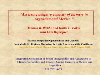 Session: Adaptation Opportunities and Capacity