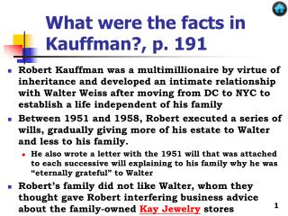 What were the facts in Kauffman?, p. 191
