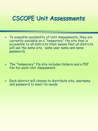 CSCOPE Unit Assessments