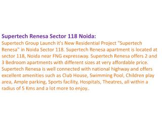 Supertech Group Noida 9899606065 Supertech Renesa Sector 118
