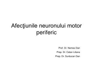Afecţiunile neuronului motor periferic