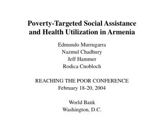 Poverty-Targeted Social Assistance  and Health Utilization in Armenia