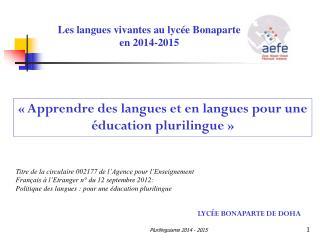 Les langues vivantes au lyc�e Bonaparte en 2014-2015