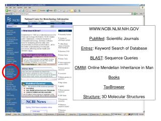 WWW.NCBI.NLM.NIH.GOV PubMed : Scientific Journals Entrez : Keyword Search of Database