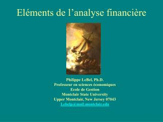 El�ments de l�analyse financi�re