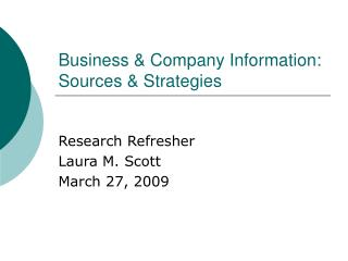 Business & Company Information: Sources & Strategies