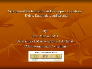 Agricultural Globalization in Developing Countries: Rules, Rationales, and Results By