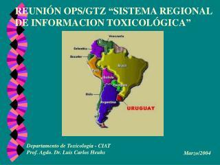 "REUNIÓN OPS/GTZ ""SISTEMA REGIONAL DE INFORMACION TOXICOLÓGICA"""