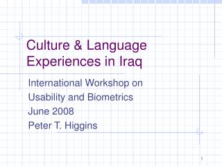 Culture & Language Experiences in Iraq
