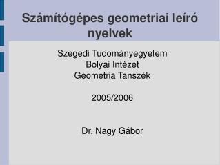 Számítógépes geometriai leíró nyelvek